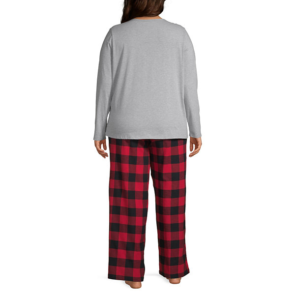 North Pole Trading Co. Buffalo Plaid Family Womens Long Sleeve-Plus Pant Pajama Set 2-pc.