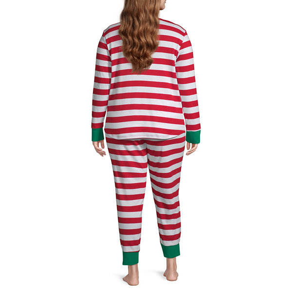 North Pole Trading Co. Red And White Stripe Family Womens-Plus Pant Pajama Set 2-pc. Long Sleeve