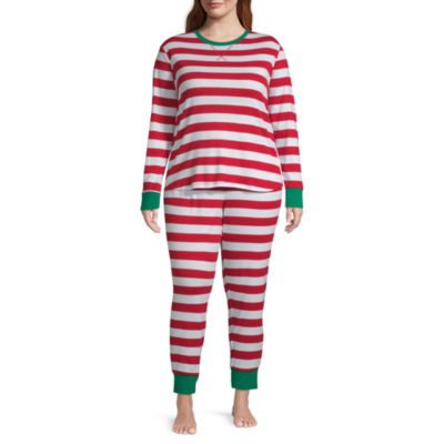 North Pole Trading Co. Red And White Stripe Family  Long Sleeve 2-pc. Pant Pajama Set Womens-Plus