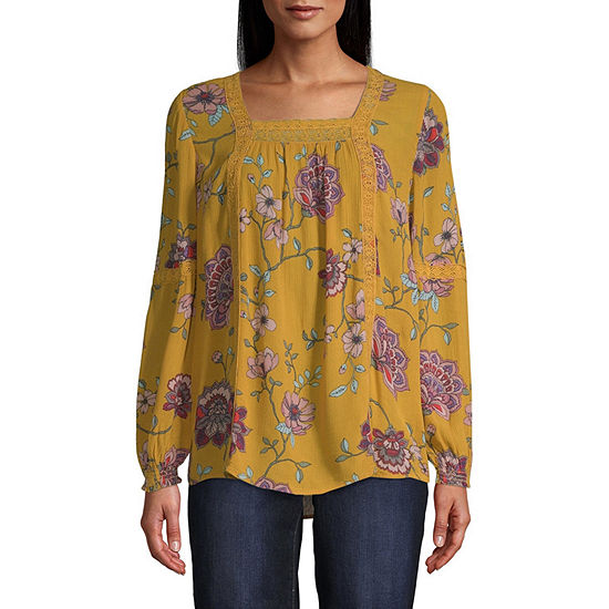 St. John's Bay-Tall Womens Square Neck Long Sleeve Blouse