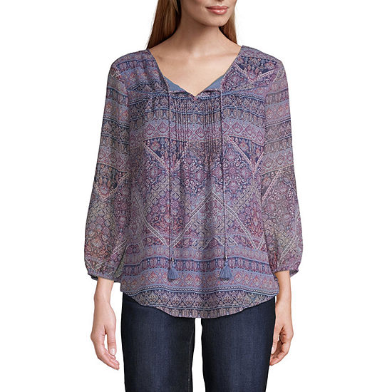 St. John's Bay 3/4 Sleeve Yoryu Tie Front Blouse - Tall