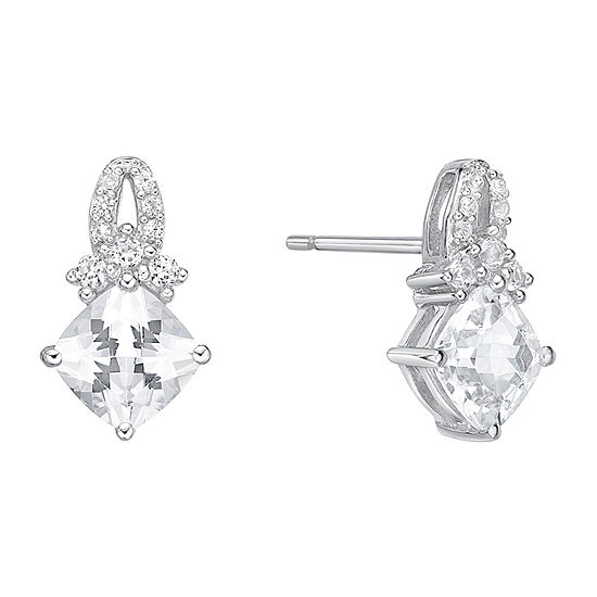 Lab Created White Sapphire Sterling Silver 13.4mm Stud Earrings