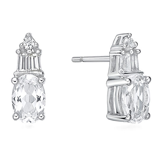 Lab Created White Sapphire Sterling Silver 10.5mm Stud Earrings