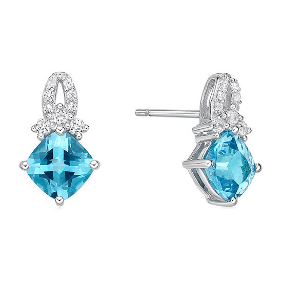 Genuine Blue Topaz Sterling Silver 13.4mm Stud Earrings