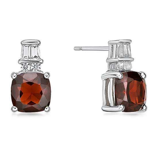 Genuine Red Garnet Sterling Silver 11mm Stud Earrings