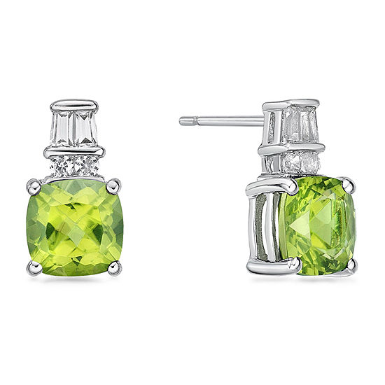 Genuine Green Peridot Sterling Silver 11mm Stud Earrings