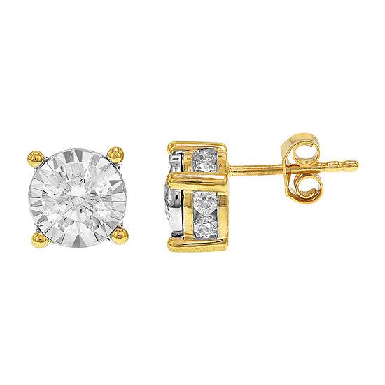 1 1/2 CT. T.W. Genuine White Diamond 14K Gold 7.8mm Stud Earrings