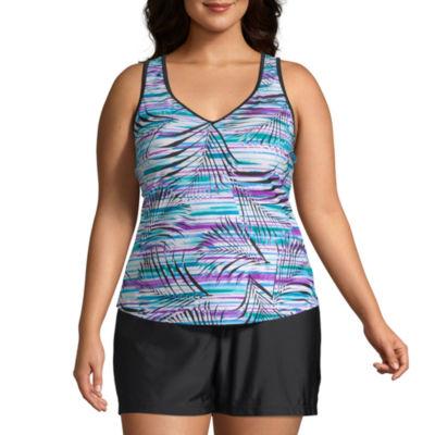Zeroxposur Leaf Tankini Swimsuit Top Plus