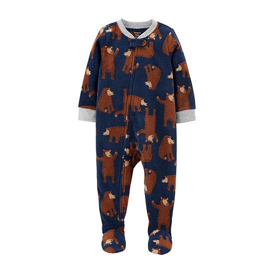 Carter's Boys Microfleece Long Sleeve Crew Neck One Piece Pajama