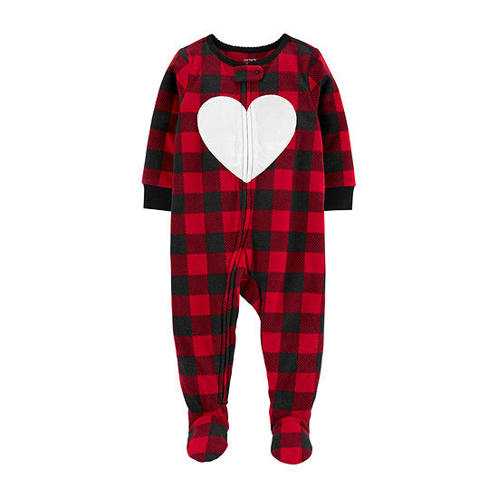 Carter's Christmas Girls Fleece One Piece Pajama Long Sleeve
