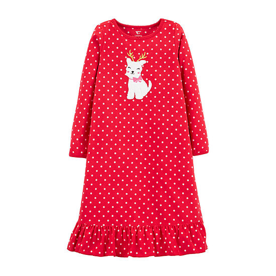 Carter's Christmas Little & Big Girls Fleece Long Sleeve Crew Neck Nightgown
