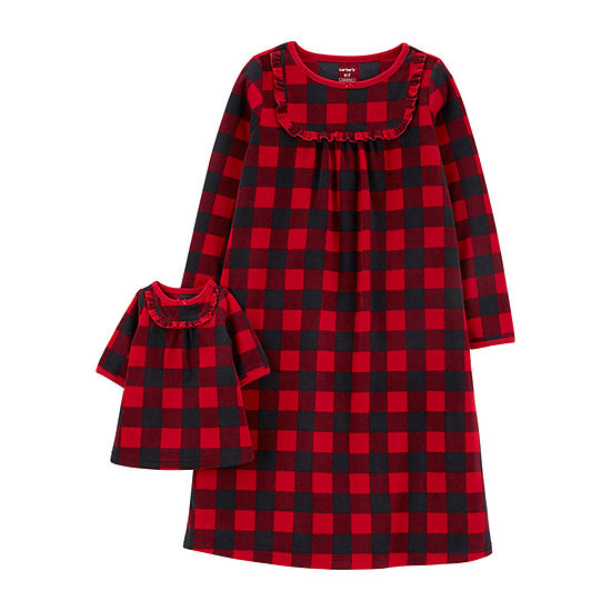Carter's Girls Buffalo Check Matching Nightgown & Doll Nightgown