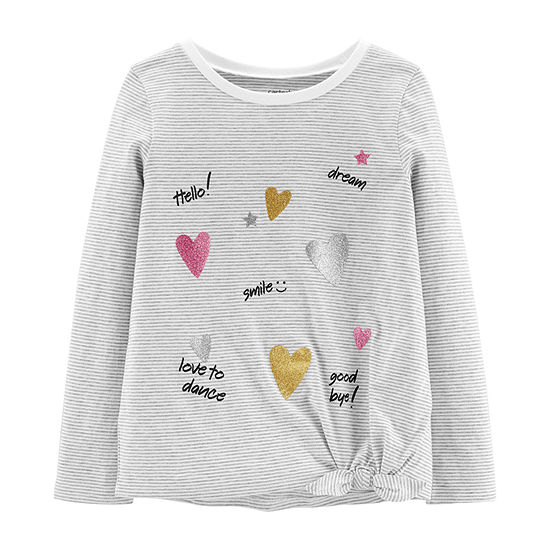 Carter's Girls Crew Neck Long Sleeve Graphic T-Shirt - Preschool / Big Kid