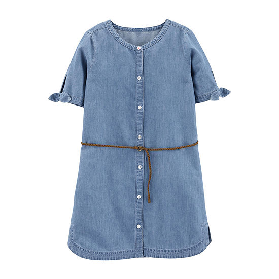 Carter's Girls Short Sleeve Shirt Dress - Preschool / Big Kid