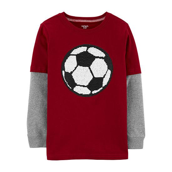 Carter's Boys Crew Neck Long Sleeve Graphic T-Shirt - Preschool / Big Kid