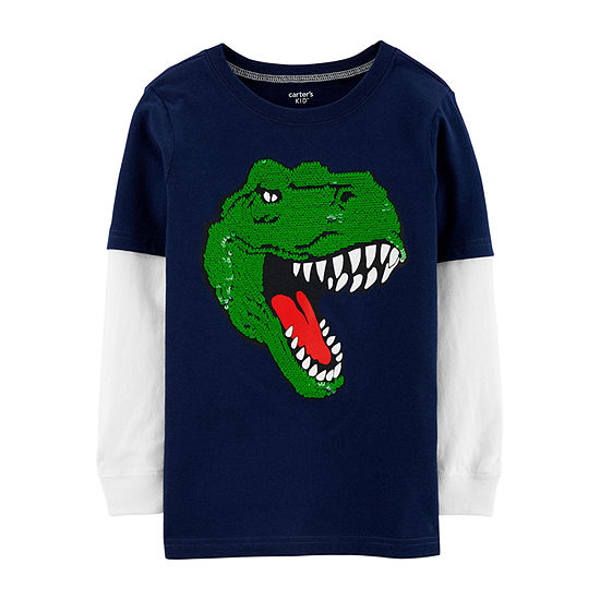 Carter's Little & Big Boys Crew Neck Long Sleeve Graphic T-Shirt