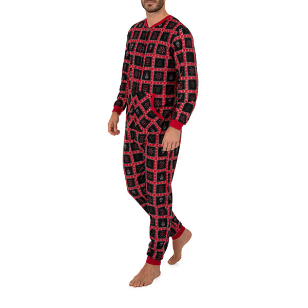 Wembley Snowman Patchwork Couples Mens Fleece Long Sleeve One Piece Pajama