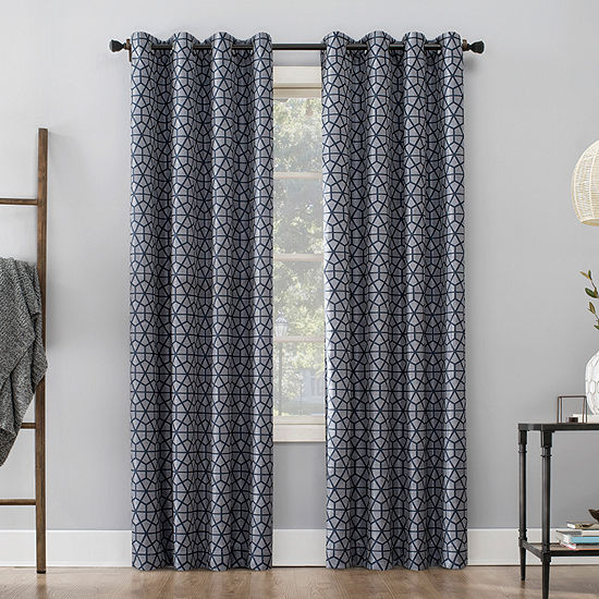 Sun Zero Burke Twill Mosaic Thermal Extreme 100% Blackout Grommet-Top Curtain Panel