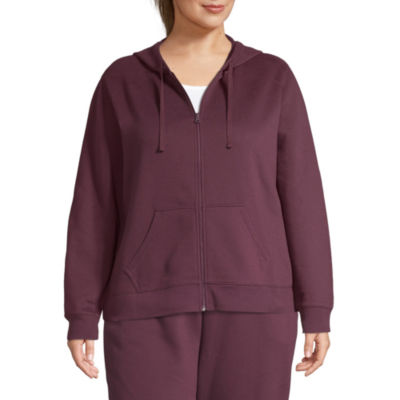 St. John's Bay Active Womens Long Sleeve Fleece Hoodie-Plus