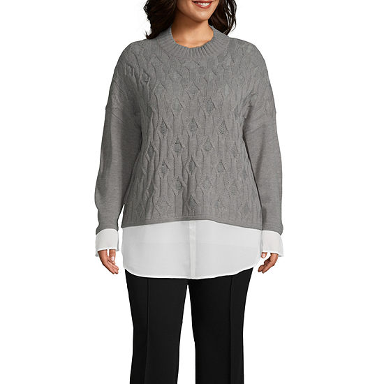 Worthington Womens Twofer Sweater - Plus