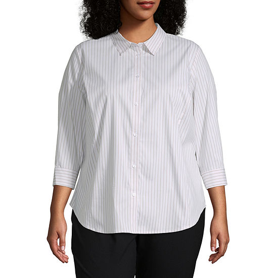 Liz Claiborne Womens 3/4 Sleeve Button Front Shirt - Plus
