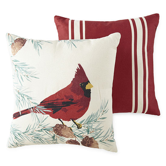 North Pole Trading Co. Cardinal 2-Pack Square Throw Pillow