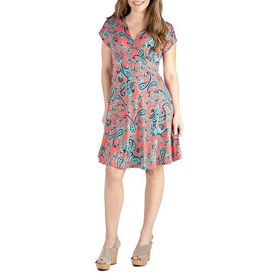 24/7 Comfort Dresses Short Sleeve Knee Length Dress