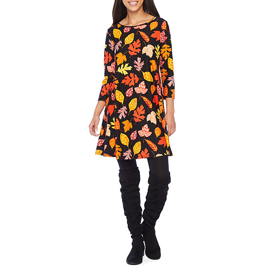 City Streets 3/4 Sleeve Fall Themed Swing Dresses