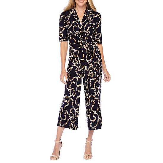 Ronni Nicole Short Sleeve Puff Print Jumpsuit