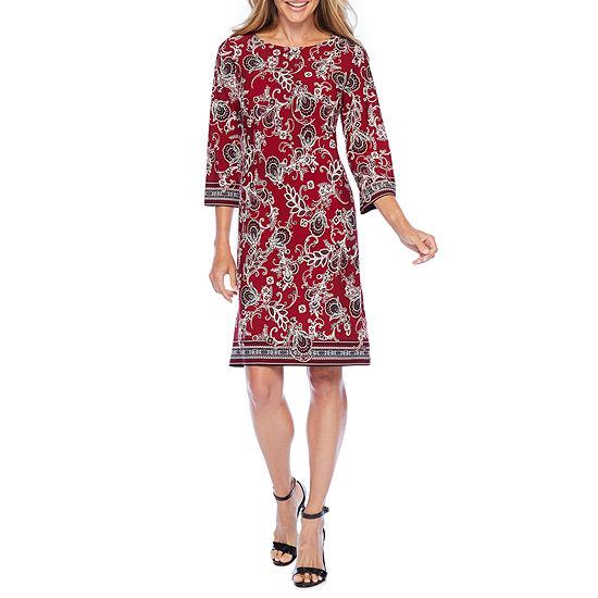R & K Originals 3/4 Sleeve Bordered Shift Dress
