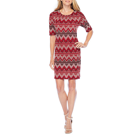 R & K Originals Short Sleeve Chevron Shift Dress