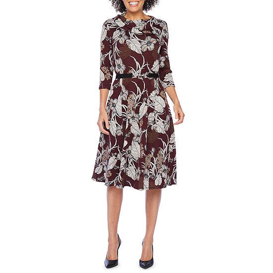 Robbie Bee 3/4 Sleeve Leaf Midi Fit & Flare Dress