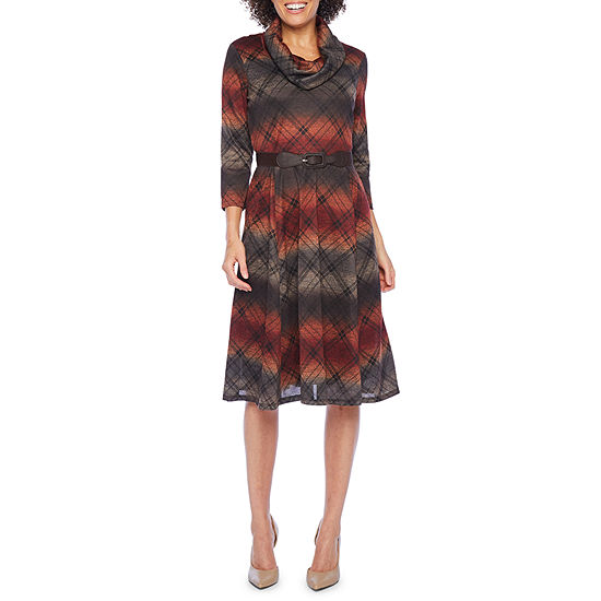 Robbie Bee 3/4 Sleeve Checked Midi Fit & Flare Dress