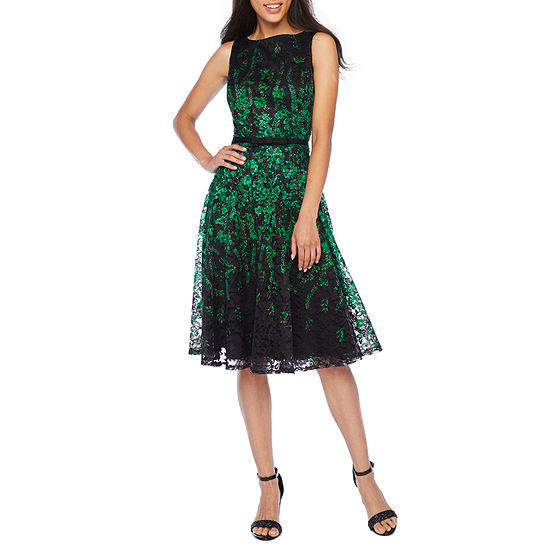 Danny & Nicole Sleeveless Floral Lace Fit & Flare Dress