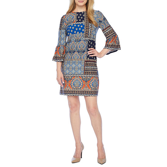 London Style 3/4 Bell Sleeve Patchwork Shift Dress-Petite