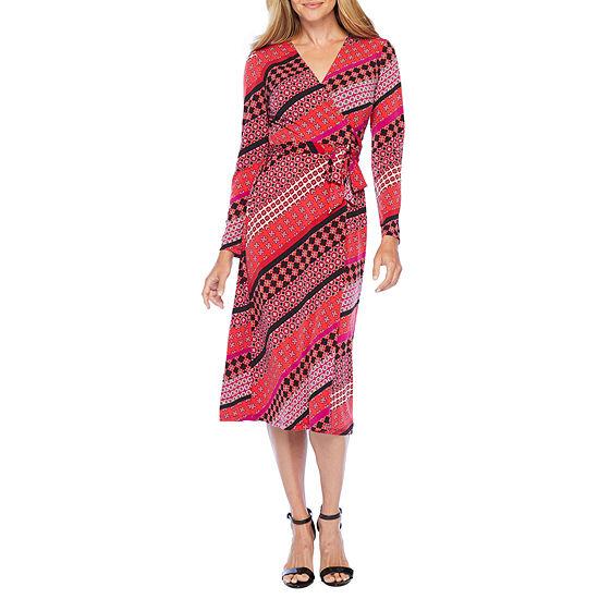 London Style-Petite Long Sleeve Midi Sheath Dress