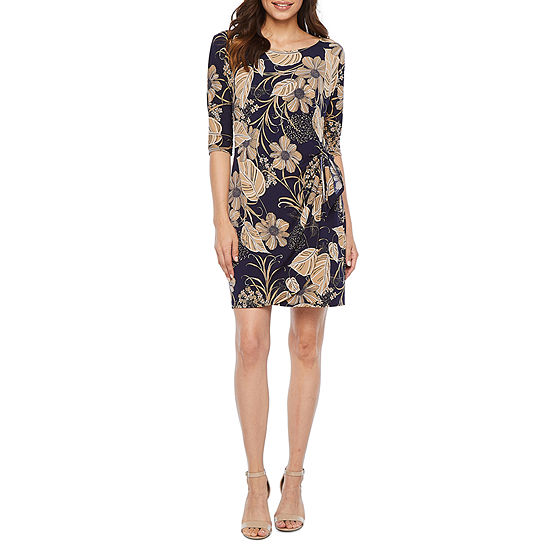 Robbie Bee 3/4 Sleeve Floral Puff Print Sheath Dress-Petite