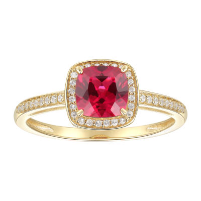 Womens Lab Created Red Ruby 10K Gold Cocktail Ring