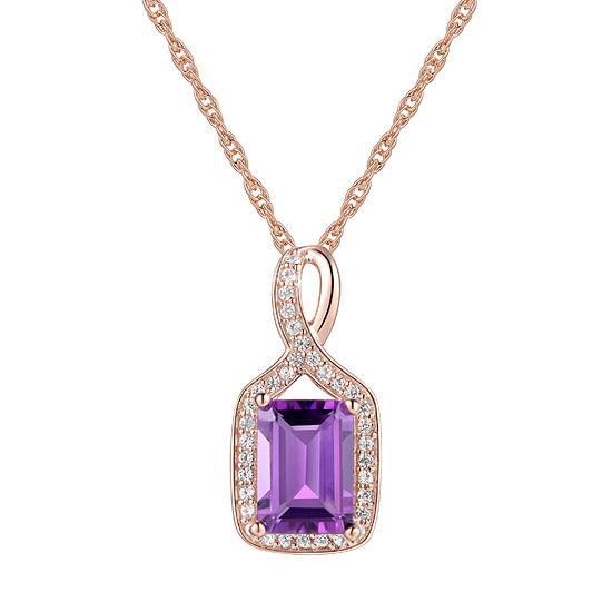 Womens Genuine Purple Amethyst 10K Rose Gold Pendant
