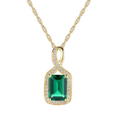 Womens Lab Created Green Emerald 10K Gold Pendant