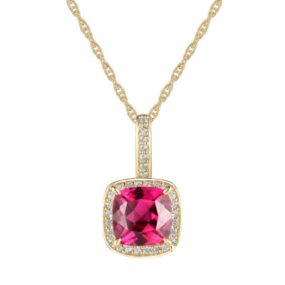 Womens Lab Created Red Ruby 10K Gold Pendant