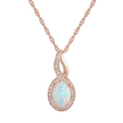 Womens Lab Created White Opal 10K Rose Gold Pendant