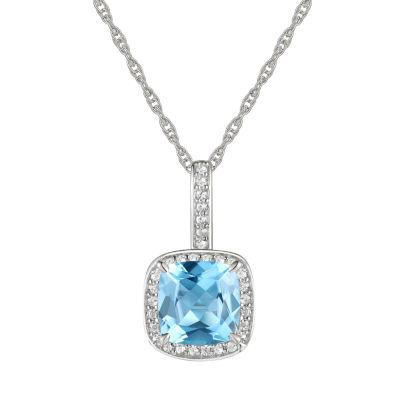 Womens Genuine Blue Topaz 10K White Gold Pendant