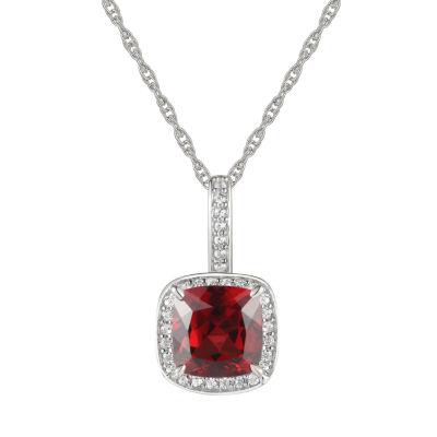 Womens Genuine Brown Garnet 10K White Gold Pendant Necklace