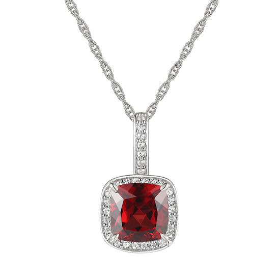 Womens Genuine Brown Garnet 10K White Gold Pendant