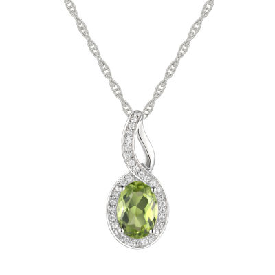 Womens Genuine Green Peridot 10K White Gold Pendant