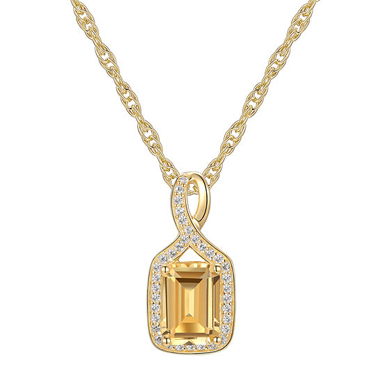 Womens Genuine Yellow Citrine 10K Gold Pendant