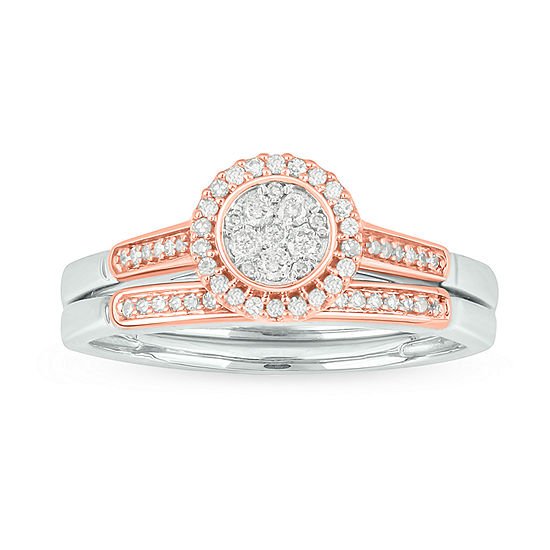 Womens 1/4 CT. T.W. Genuine White Diamond 10K Rose Gold Bridal Set