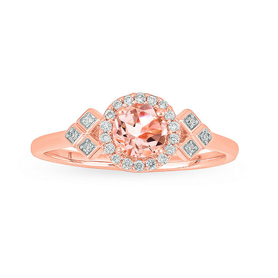 Womens 1/10 CT. T.W. Genuine White Stone 10K Rose Gold Engagement Ring