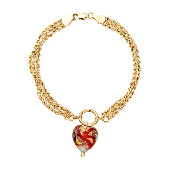 10K Gold 7.5 Inch Hollow Rope Heart Chain Bracelet